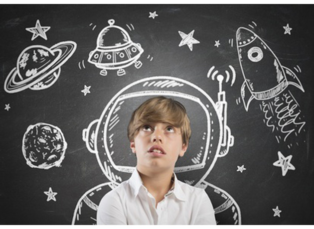 Child who dreams of being in space with open eyes